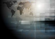 Dark technology vector world map design Stock Image