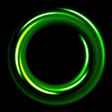 Dark template with green circles spirals Stock Photography