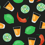 Dark tequila pattern. Vector seamless pattern with tequila shots, limes, salt and red pepper Royalty Free Stock Photos