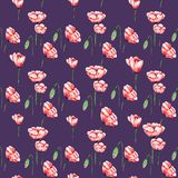 Dark Textile Pattern with Poppies Stock Image