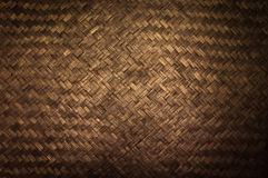 Dark Texture of bamboo handicraft detail , Pattern of Thai style bamboo handcraft texture background Stock Images