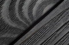 Dark texture of black shine wood. Joint of black wooden boards. Very dark texture of black shine wood Stock Photography
