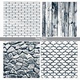 Dark texture brick wall, wood, stone wall, cast iron grid Stock Photos