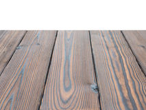 Dark textured wooden planks perspective background isolated on w Royalty Free Stock Images