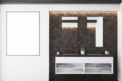Dark tile bathroom, sink Stock Photography