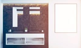 Dark tile bathroom, sink, toned Royalty Free Stock Photos