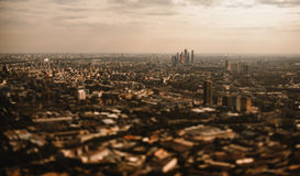 Dark tilt-shift aerial view of Moscow City skyscrapers group Royalty Free Stock Image
