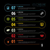Dark Timeline Infographics with icons. Vector Royalty Free Stock Images