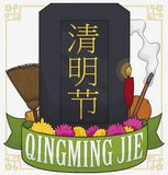Dark Tombstone Decorated with Elements to Celebrate Qingming Festival, Vector Illustration. Memorial dark tombstone with commemorative ribbon and elements to vector illustration