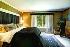 Dark tones bedroom interior Royalty Free Stock Photo