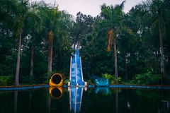 Dark tourism attraction Ho Thuy Tien abandoned waterpark, close to Hue city, Central Vietnam, Southeast Asia.  stock photos