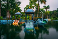 Dark tourism attraction Ho Thuy Tien abandoned waterpark, close to Hue city, Central Vietnam, Southeast Asia.  royalty free stock image
