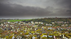 Dark town. English town with dark clouds stock photo