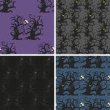 Dark trees seamless patterns set. Dancing and smiling fantasy trees with full moon. Halloween seamless patterns Stock Photos