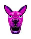 Dark Tribal Dog Mask Isolated. Tribal wood dog mask with diabolic expression isolated in white background Royalty Free Stock Image