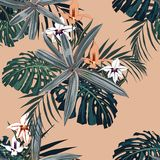Dark tropical leaves with jungle plants. Seamless vector tropical pattern with green palm, monstera stock illustration