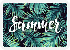 Dark tropical postcard design with exotic plants and lettering. Vector tropical background with green phoenix palm Stock Images