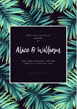 Dark tropical wedding design with exotic plants. Vector tropical background with green phoenix palm leaves. Royalty Free Stock Images