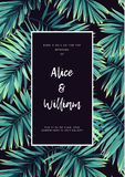 Dark tropical wedding design with exotic plants. Vector tropical background with green phoenix palm leaves. Royalty Free Stock Photo