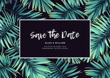 Dark tropical wedding design with exotic plants. Vector tropical background with green phoenix palm leaves. Royalty Free Stock Image