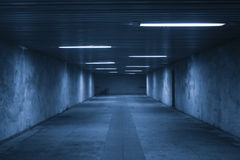 In the dark tunnel. At night with nobody inside Royalty Free Stock Images