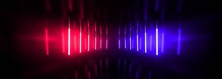 Dark tunnel, corridor, room with smoke, neon light, red and blue neon. royalty free stock photos