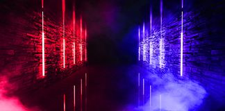 Dark tunnel, corridor, room with smoke, neon light, red and blue neon. Abstract light, glowing lines and spotlight. Night view. 3d render stock illustration