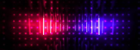 Free Dark Tunnel, Corridor, Room With Smoke, Neon Light, Red And Blue Neon. Stock Image - 143453411