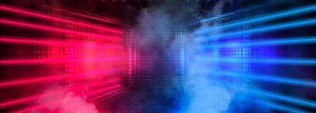 Free Dark Tunnel, Corridor, Room With Smoke, Neon Light, Red And Blue Neon. Royalty Free Stock Photo - 143453495