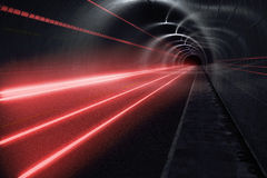 Dark tunnel with light trails Royalty Free Stock Photos
