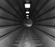 Dark tunnel, a long corridor of round shape lightened with light. 3d Stock Photos