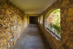 Dark tunnel path straight perspective Royalty Free Stock Photography
