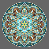 Dark  turquoise floral mandala Royalty Free Stock Photo