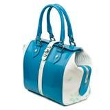 Dark turquoise glossy female handbag isolated on white background. Royalty Free Stock Photos