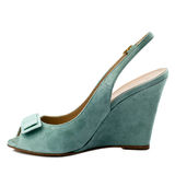 Dark turquoise shoe isolated on white background. Royalty Free Stock Photo