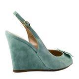 Dark turquoise shoe isolated on white background. Royalty Free Stock Photography