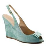 Dark turquoise shoe isolated on white background. Royalty Free Stock Image