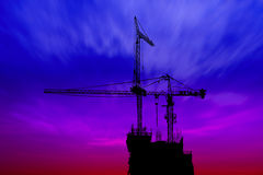 Dark twilight and silhouette construction Stock Photography