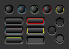 Dark ui buttons set. Dark user interface vector buttons set Stock Image