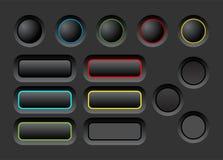 Dark ui buttons set Stock Image