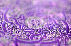 Dark ultra violet lavender with silver and gold - luxurious ornamental pattern. Royalty Free Stock Images