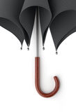 Dark umbrella  on white background. 3D illustration . Royalty Free Stock Photo