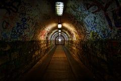 Dark undergorund passage with light Royalty Free Stock Photo