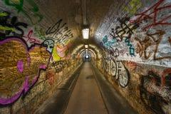 Dark undergorund passage with light Royalty Free Stock Images