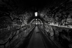Dark undergorund passage with light Royalty Free Stock Photos