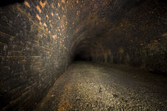 Dark Underground Railway Tunnels Royalty Free Stock Photography