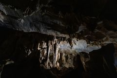 Dark Underground A-rawan Cave, Phare ,thailand.  royalty free stock images