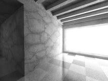 Dark urban architecture. Empty concrete room with big window Stock Photos