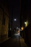 Dark Urban City Alley at Night Stock Images