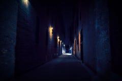 Dark Urban City Alley at Night. Dark and narrow urban city alley at night royalty free stock photo